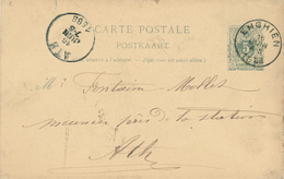 145/28 - Entier Postal Lion Couché ENGHIEN 1888 Vers ATH - Signé Vandamme à ST PIERRE CAPELLE - Stamped Stationery
