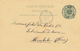 148/28 - Entier Postal Lion Couché ST NICOLAS 1891 Vers Fabrique De Sucre De Cock § Cie à MOERBEKE (Waes) - Stamped Stationery