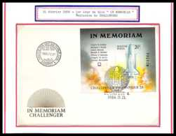 12035 Fdc (premier Jour) Bloc In Memoriam Challenger 1986 Hongrie (Hungary) Espace (space Raumfahrt) Lettre Cover - Europa
