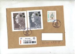 Lettre Suivi  Cachet Saint Louis Noel Sur Beaugard Grand Format + Timbre à Moi Sapin - Cachets Commémoratifs