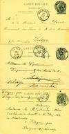 149/28 - 3 X Entier Postal Lion Couché NAMUR 1893/94 Vers Pensionnat Des Soeurs à SCLAYN - TB Routages Divers ! - Stamped Stationery