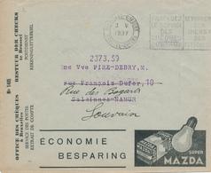 150/28 - LAMPES MAZDA + CUIRS Pour CHAUSSURES - BELGIQUE Enveloppe CCP 1937 Avec Ses Extraits De Comptes - Stamps