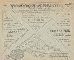 152/28 - ARMES LIEGE Lepage + TABACS Semois + Clouteries Anderlues - BELGIQUE Enveloppe CCP 1926 - Timbres