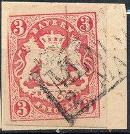 Stamp Bavaria 1867 3kr Imperf Used Fancy Cancel Numeral Lot#64 - Bavière
