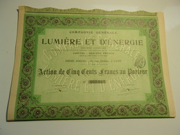Compagnie Générale De Lumière Et D'énergie - Actions & Titres