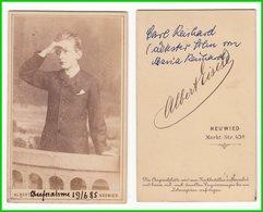 CDV Photografie: Albert Eisele, Neuwied - Portrait Halbwüchiger Knabe Im Fotostudio Garçon Teenage Boy  #0117 - Photographs
