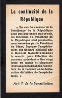 Militaria Guerre D'Algérie / Tract Propagande Anonyme / La Continuité De La République .... Article 7 De La Constitution - Documents