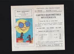 Imprimerie Des Hautes Vosges - Saint Dié -Cartes Barometres Mystérieux (système) - Publicités