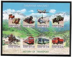 Tajikistan.2007 History Of Transport. Imperforated M/S Of 8v Michel # 476-83b  KB - Tadschikistan
