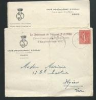 LAC OBLI .  Orly En 1931, Entete Cafe Restaurant D'Orsay/ Paris + CACHET MILITAIRE  - LX1707 - Marcophilie (Lettres)