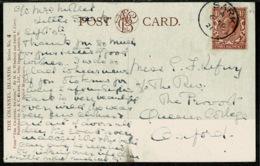 Ref 1250 - 1921 Postcard - St Aubin Jersey - Very Good Sark Postmark - Scarce 1 1/2d Rate - Cartas