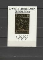 Ras Al Khaima 1968 Olympic Games Grenoble Gold S/s MNH - Hiver 1968: Grenoble