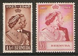 BERMUDA 1948 SILVER WEDDING SET MOUNTED MINT Cat £45+ - Bermuda