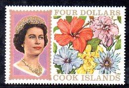 W1165 - COOK ISLANDS 1968 , 4 Dollari Yvert 179  ***  MNH  ORDINARIA - Cook