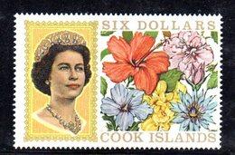 W1173 - COOK ISLANDS 1968 , 6 Dollari Yvert 181  ***  MNH  ORDINARIA - Cook