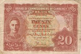 MALAISIE  - Commissaires Des établissements Des Détroits - Le Roi George VI - 20 Cents - Malaysie