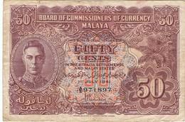 MALAISIE  - Commissaires Des établissements Des Détroits - Le Roi George VI - 50 Cents - Malaysie