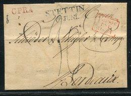 """Preussen/ 1825 / Vorphila-Transitbrief L2-Stempel STETTIN Nach Bordeaux, R3-Stempel """"PRUSSE PAR ..."""" (2/041) - Germany"""