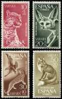 Sahara 176/79 (*) Fauna, Leopardo, Fenec, Aguila. 1960. Sin Goma - Sahara Español