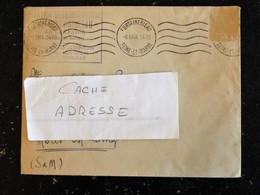 ENVELOPPE A ENTETE STATION METEOROLIQUE FONTAINEBLEAU LE CALVAIRE - FLAMME MUETTE 1944 - SEINE ET MARNE - Marcophilie (Lettres)