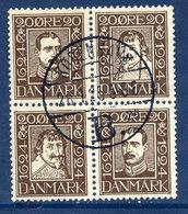 DENMARK 1924 Post Office Tercentenary 20 Øre Block, Used. Michel 1391-42. - Used Stamps