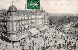 Carte Postale Ancienne - Circulé - Dép. 34 - MONTPELLIER - Place De La Comédie - Montpellier