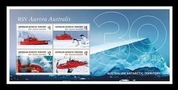 AAT 2018 Mih. 258/61 (Bl.23) Ships. Icebreaker RSV Aurora Australis. Fauna. Penguins MNH ** - Australisches Antarktis-Territorium (AAT)