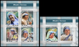 SAO TOME 2018 **MNH Mother Teresa Mutter Teresa Mere Teresa M/S+S/S - IMPERFORATED - DH1850 - Mère Teresa