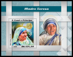 SAO TOME 2018 **MNH Mother Teresa Mutter Teresa Mere Teresa S/S - IMPERFORATED - DH1850 - Mère Teresa