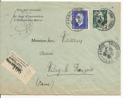 Timbre Fiscal Sur Lettre - Chalons Sur Marne 1945 - Fiscaux