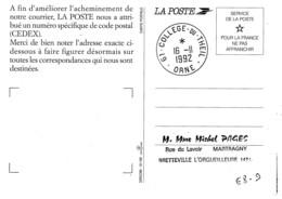 La Poste à L'ecole College Du Theil Orne Rare Formation Des Eleves - Marcophilie (Lettres)