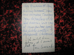 CARTE POSTALE AUTOGRAPHE SIGNEE PAR JEAN SARMENT & MARGUERITE VALMOND 1950 DRAMATURGE COMEDIE-FRANCAISE à LEON TREICH - Autógrafos
