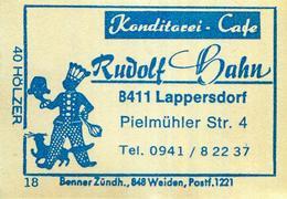 1 Altes Gasthausetikett, Konditorei - Cafe Rudolf Hahn, 8411 Lappersdorf #40 - Boites D'allumettes - Etiquettes