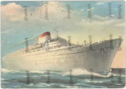 Motonave GIULIO CESARE -Società Navigazione ITALIA  (Timbro Fiera Di TRIESTE) - (1953) - Piroscafi
