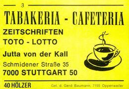 10 Alte Gasthausetiketten, Tabakeria - Cafeteria, Jutta Von Der Kall, 7000 Stuttgart 50 #42b - Boites D'allumettes - Etiquettes