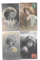 10972 - Lot De 4 CPA Fantaisies, Portraits Enfants, Ajouts, - Portraits