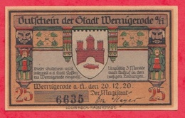 Allemagne 1 Notgeld De 25 Pfenning Stadt Wernigerode /Hartz UNC  N °2322 - [ 3] 1918-1933 : République De Weimar