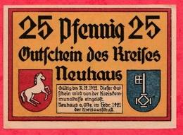 Allemagne 1 Notgeld De 25 Pfenning Stadt Neuhaus UNC  N °2325 - [ 3] 1918-1933 : République De Weimar