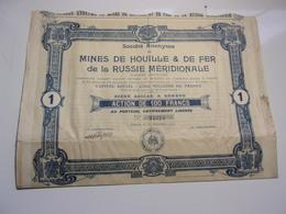 MINES DE HOUILLE & DE FER DE LA RUSSIE MERIDIONALE (1907) - Acciones & Títulos