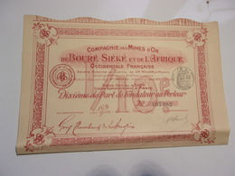MINES D'OR DU BOURE SIEKE ET DE L'AFRIQUE OCCIDENTALE FRANCAISE (1907) - Shareholdings