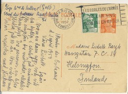 (P80) - ENTIER POSTAL - MARIANNE GANDON Y&T 885-CP1 + 884 => FINLANDE 1952 TARIF CP + 5 MOTS DU 01/05/1951 - France
