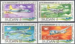 1854 ✅ Transport Aviation Plane 1968 Sudan 4v Set MNH ** - Airships