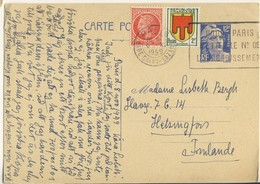 (P80) - ENTIER POSTAL - MARIANNE GANDON Y&T 812-CP1 + 675+837 => FINLANDE 1949 TARIF CP + 5 MOTS DU 01/12/1948 - France