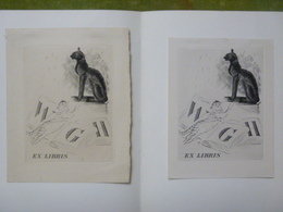 2 Ex-libris Illustrés Français ? XXème - Aux Initiales W. G. H. - 2 CHATS (un Stylisé, L'autre Au Naturel) - Ex-libris