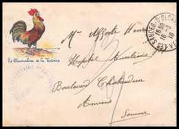 42704 Devant De Carte Lettre Franchise 1916 Le Chanteclerc De La Victoire Hopital 53 Sables D'olonnes Guerre 1914/1918 - Marcophilie (Lettres)