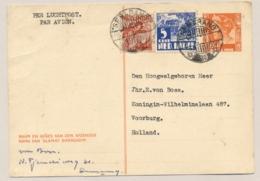 Nederlands Indië - 1948 - 10 Cent Wilhelmina Luchtdienst, Briefkaart G67 Met Bijfrankering Van Semarang Naar Voorburg - Niederländisch-Indien