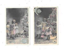 10977 - Lot De 2 CPA Fantaisies, Enfants Poupée, Noel, Sapin - Groupes D'enfants & Familles