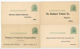 United States 1910's-50's 12 Unused UX27 Preprinted Postal Cards, Misc. Businesses - Ganzsachen