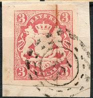 Stamp Bavaria 1867 3kr Fancy Cancel Used Lot#21 - Bavière