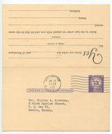 United States 1961 UY17 Postal Reply Card Richmond, Virginia To Newton, Kansas - Interi Postali